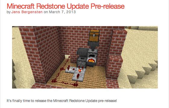 Minecraft Redstone Update Pre release