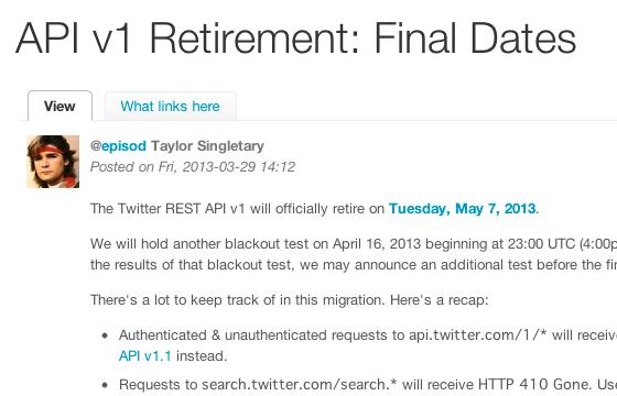 API v1 Retirement Final Dates | Twitter Developers