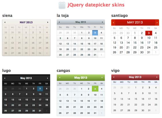 Jquery datepicker skins  CSS3 skins for jQuery UI datepicker