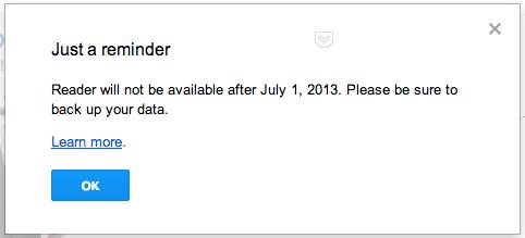 Google reader reminder