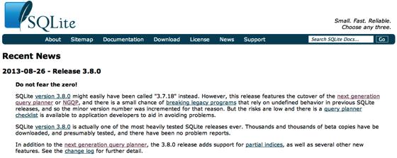 Recent SQLite