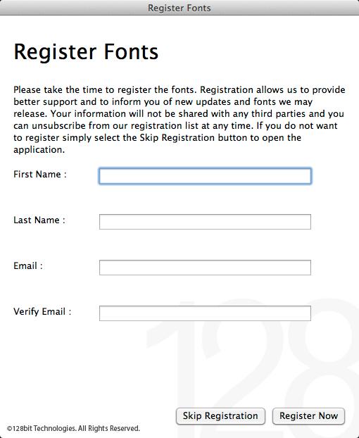 Register Fonts