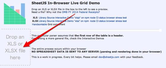SheetJS Live Grid Demo 1