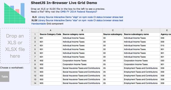 SheetJS Live Grid Demo