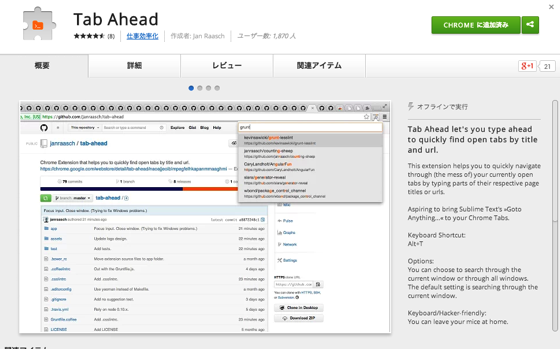 Chrome ウェブストア  Tab Ahead