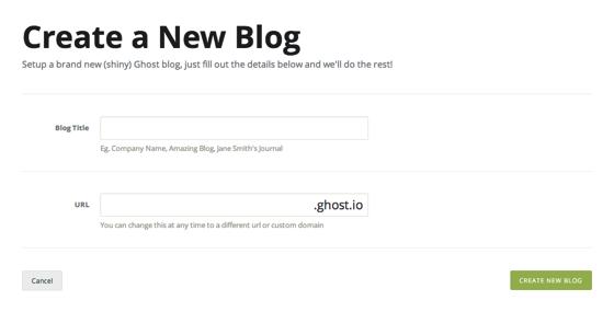 Start a New Ghost Blog