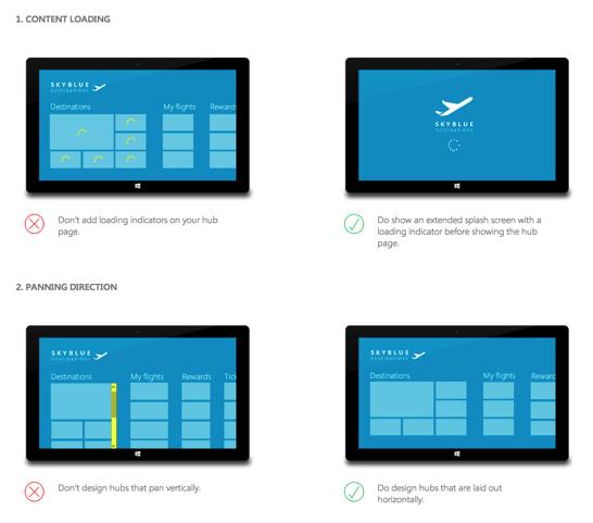 Designing a Hub Page   Windows 8 Design Handbook