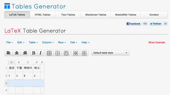 Tables generator