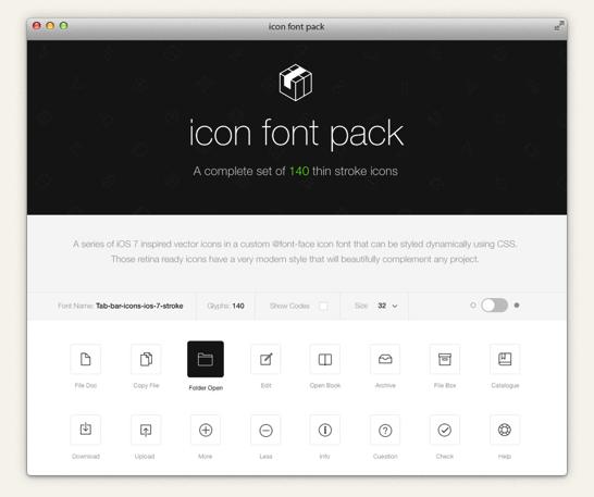 商用利用可能なios 7スタイルのアイコンフォントセット stroke 7 icon