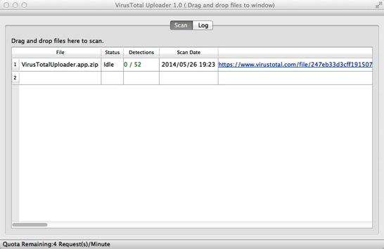 VirusTotal Uploader 1 0  Drag and drop files to window