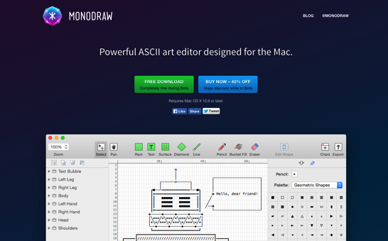 Monodraw for Mac Helftone