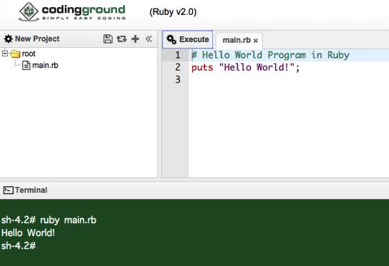 Execute Ruby Programs Online