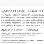 「PDFBox 2.0」がリリース - ApacheによるPDF処理用ライブラリが待望のメジャーバージョンアップ