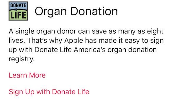 Organ donor signup