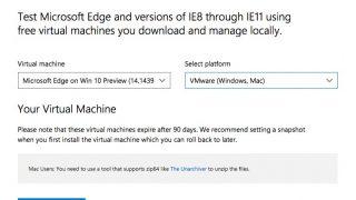 Microsoft Edgeテスト用の仮想環境が「Windows 10 Preview build 14393 / EdgeHTML 14」に更新
