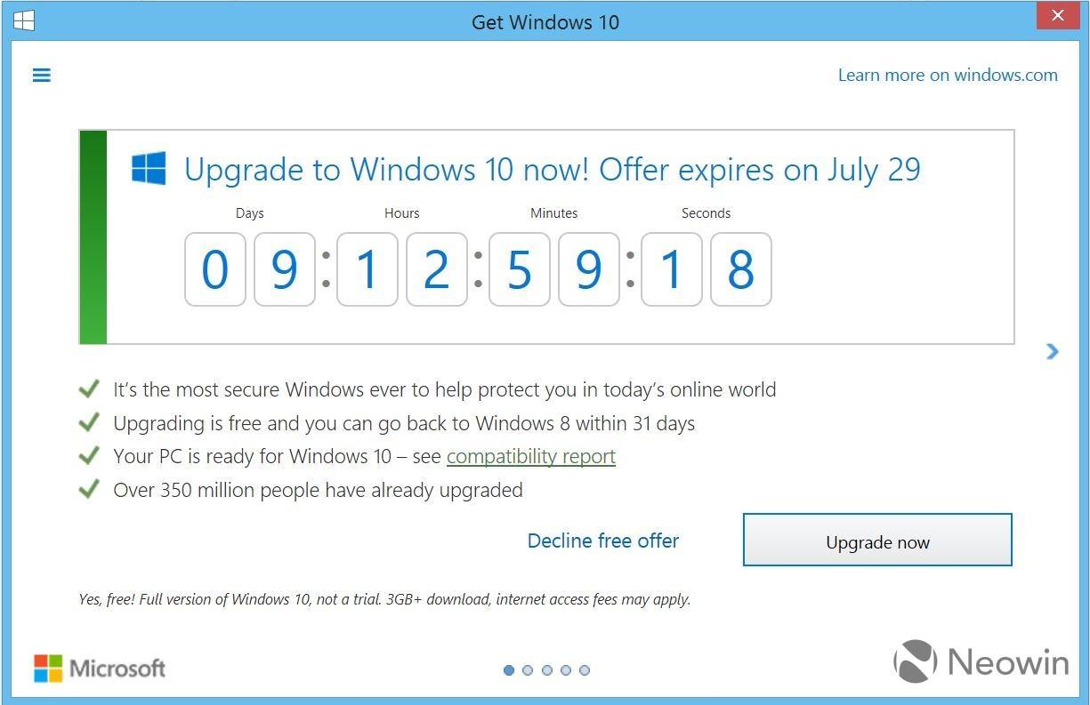 Windows10 alert