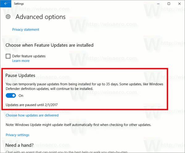 Windows 10 Pause Updates 14997 600x495