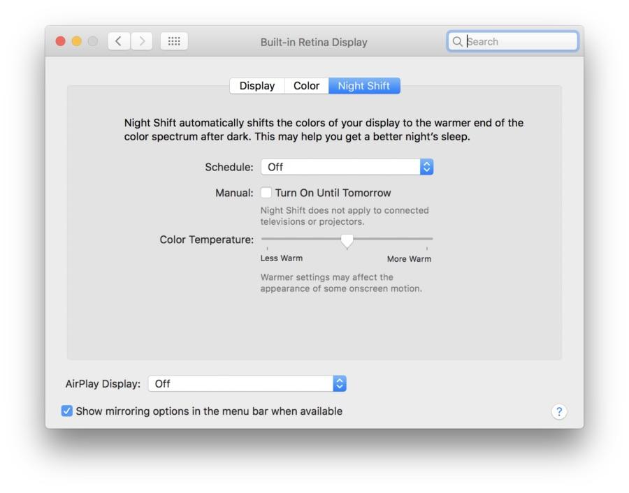 Night shift on mac 900x706