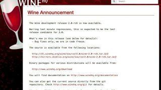 Wine 2.0-rc6がリリース - 21個の不具合が修正されてv2.0のリリースは来週か