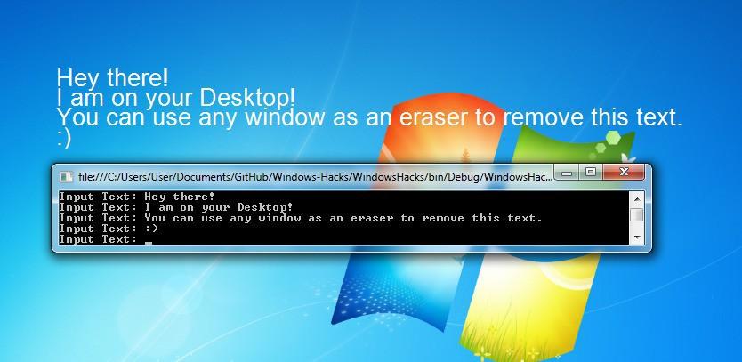 Writing to desktop