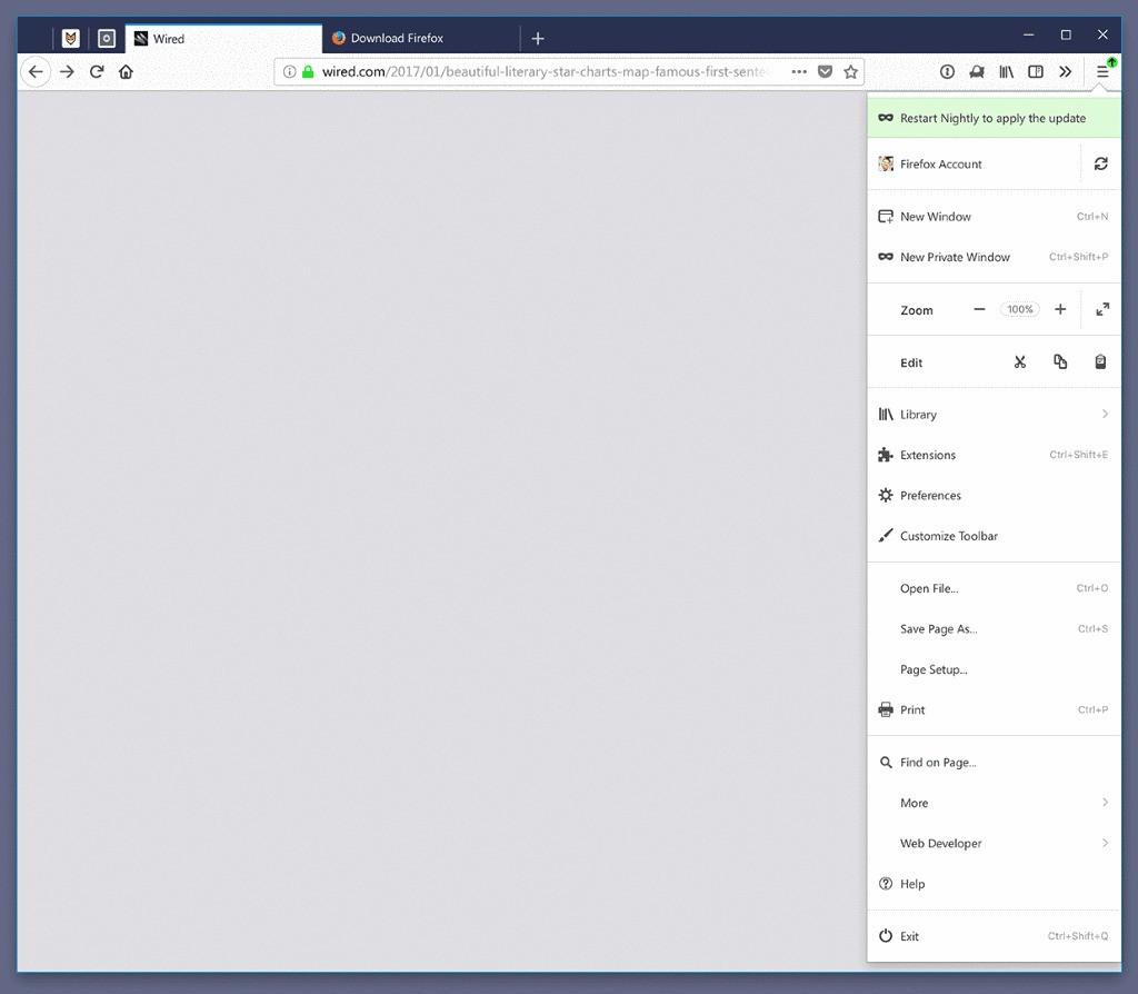 Firefox 57 touch menu