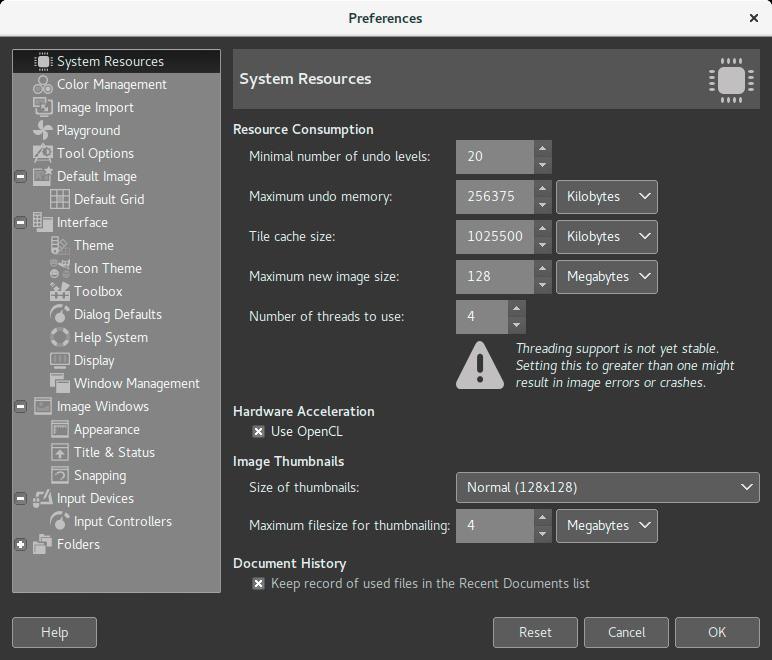Gimp 2 9 6 system resources
