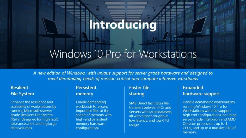 Windows10 pro for workstation