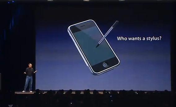 Steve jobs who wants a stylus