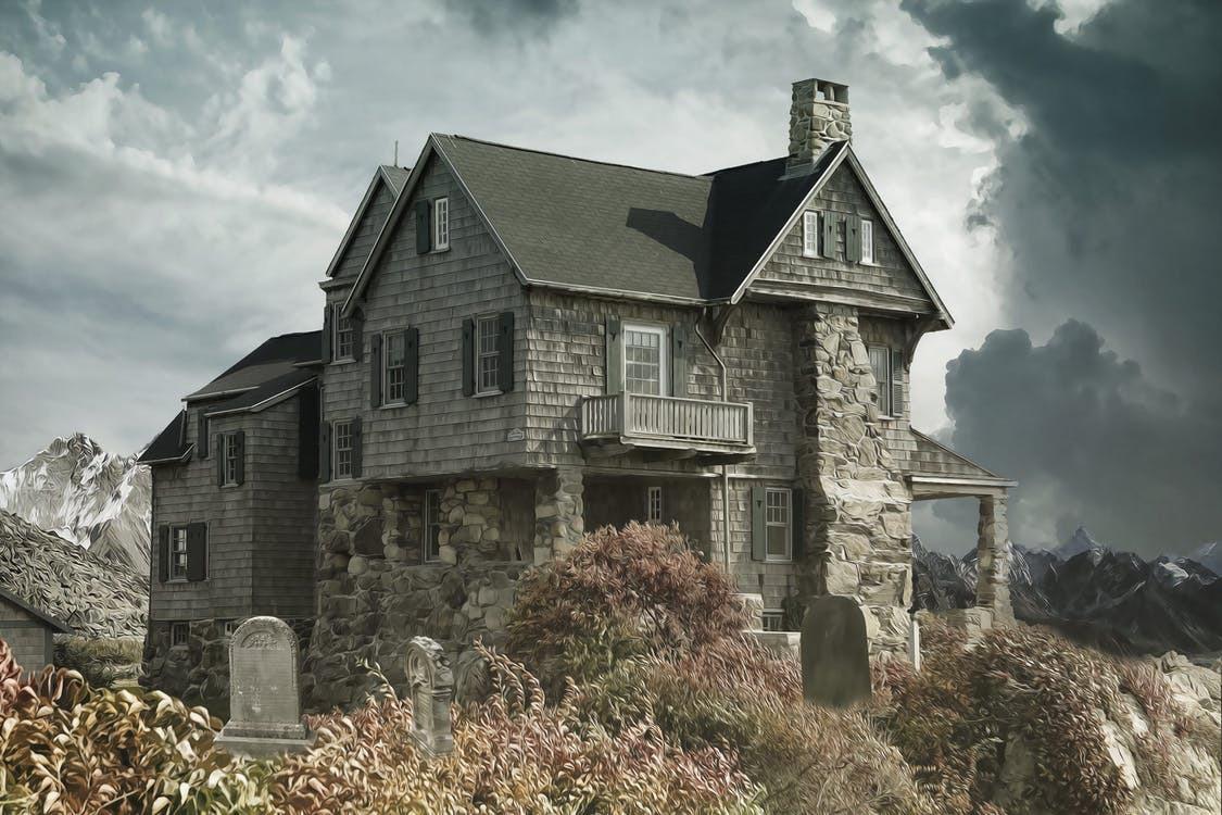 House cemetery haunted house house near the cemetery 366282