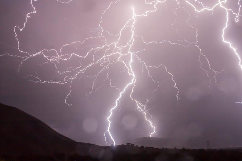 Lightning storm weather sky 53459
