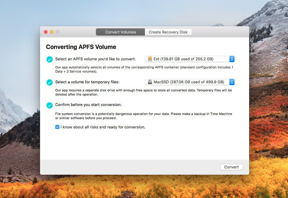 Apfs convert