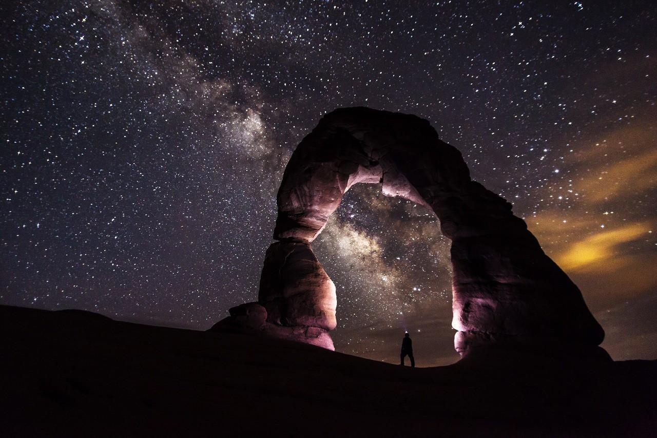 Delicate arch night stars landscape