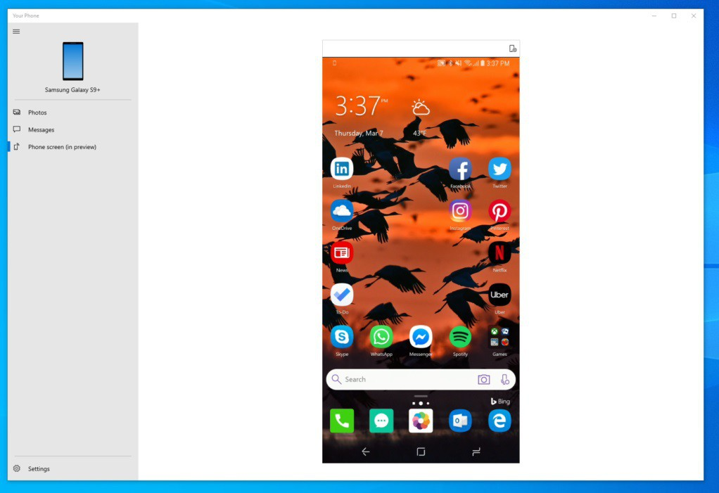 Phone screen mirroring
