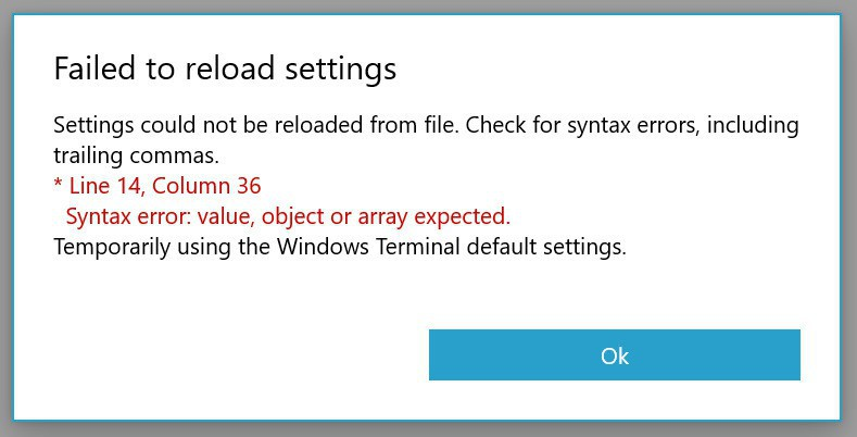 Settings error