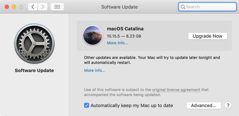 Catalina software update