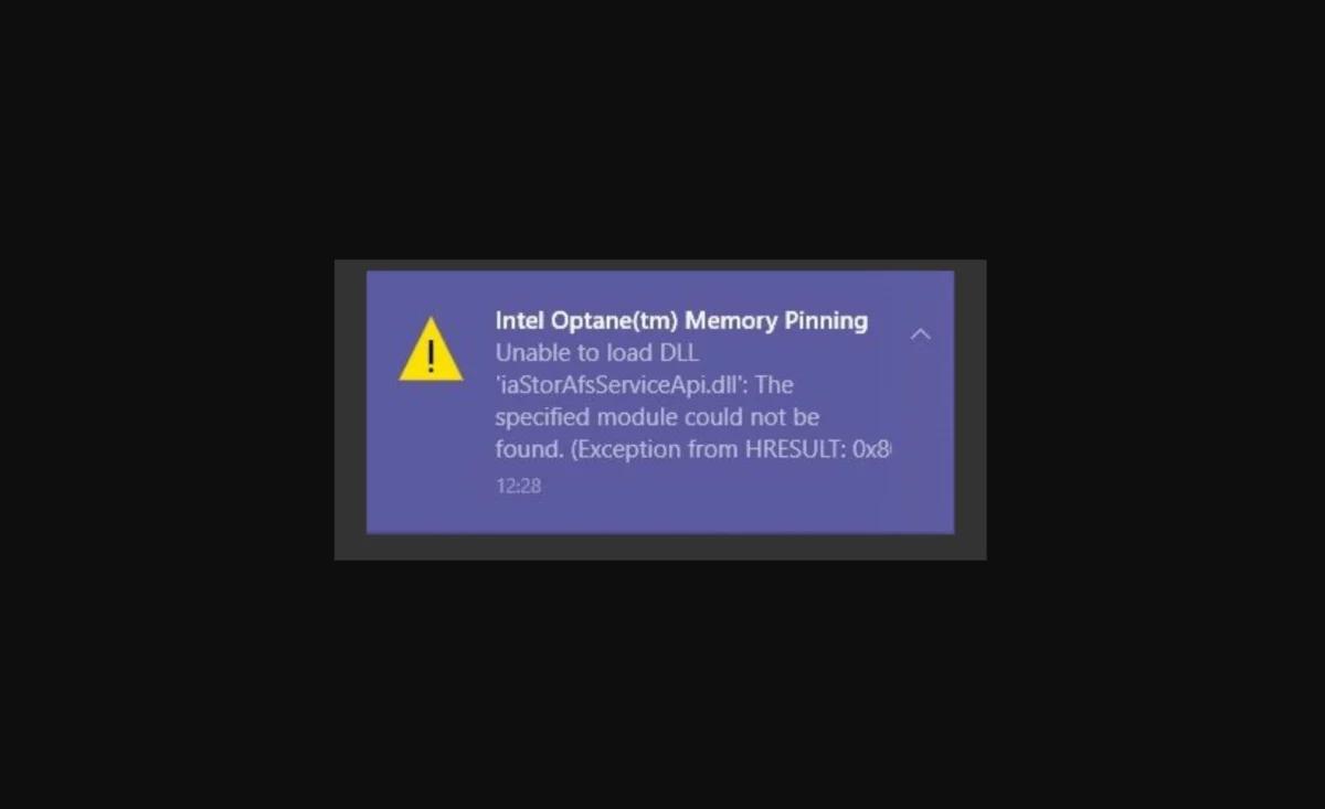 Windows 10 Optane Memory Pinning Error 1200x733