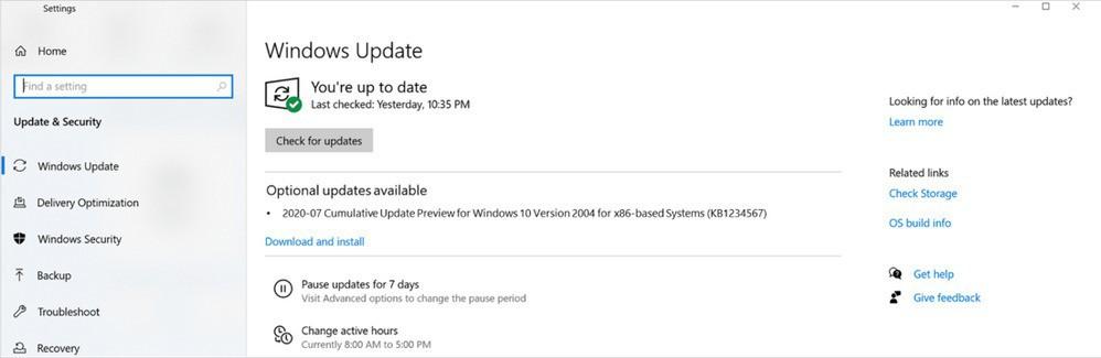Settings optional updates