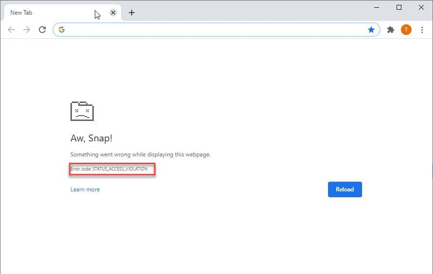 Chrome Canary aw snap crash status access violation