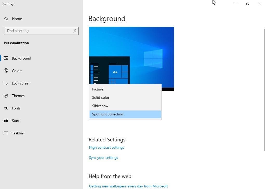 Windows 10 Desktop Spotlight