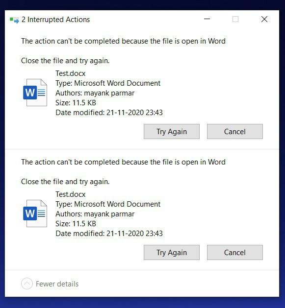 Windows 10 File in use