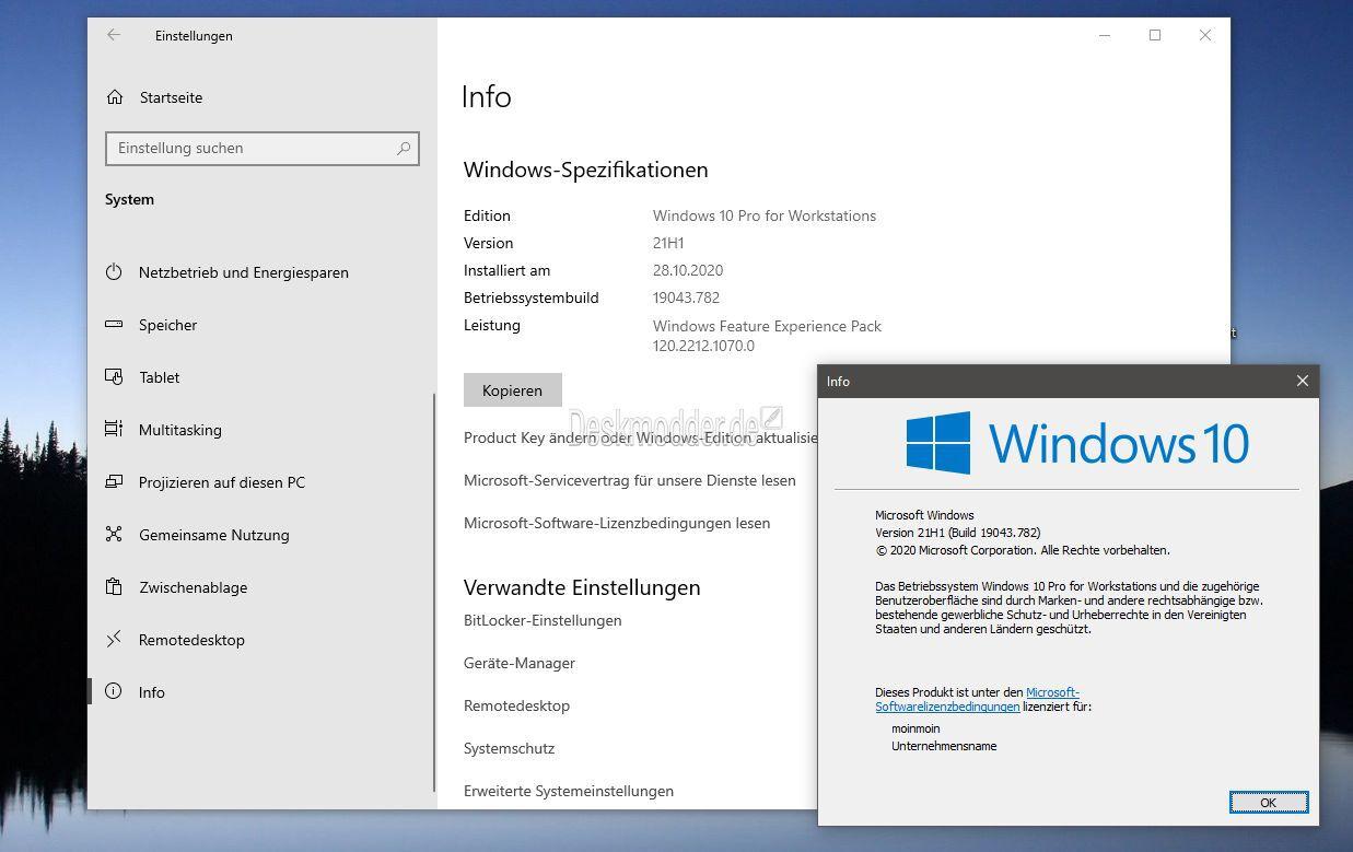 Windows 10 21h1 19043 schon aktivieren