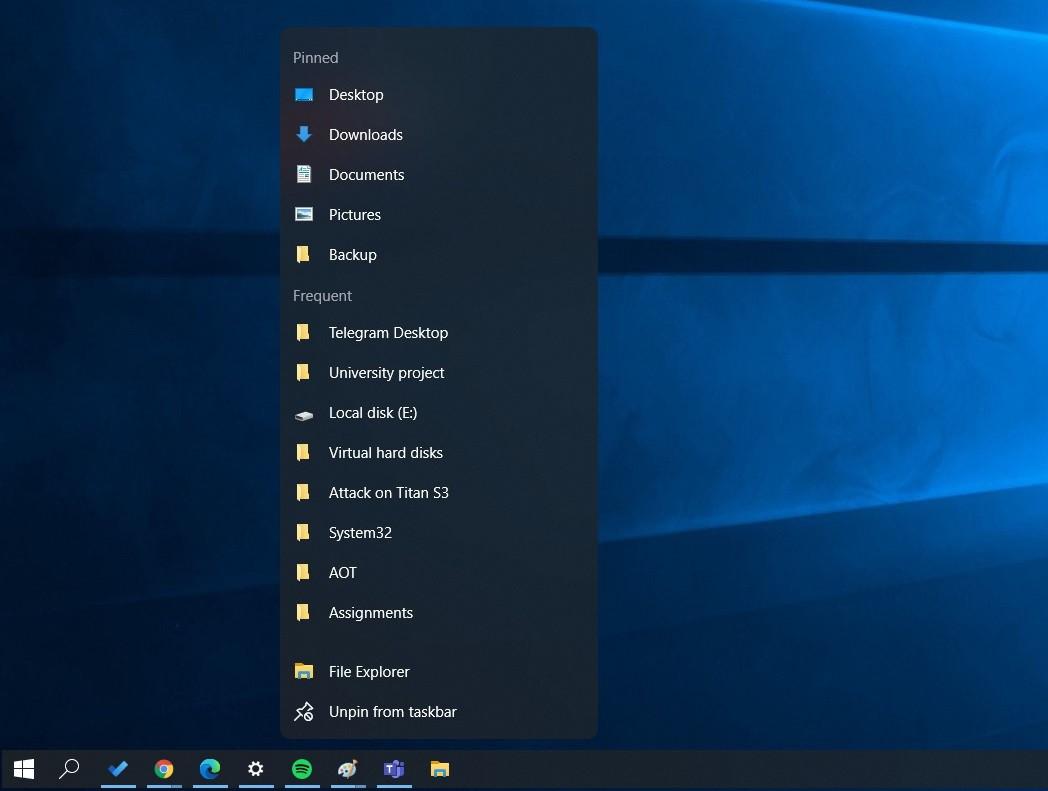 Windows 10 jump list