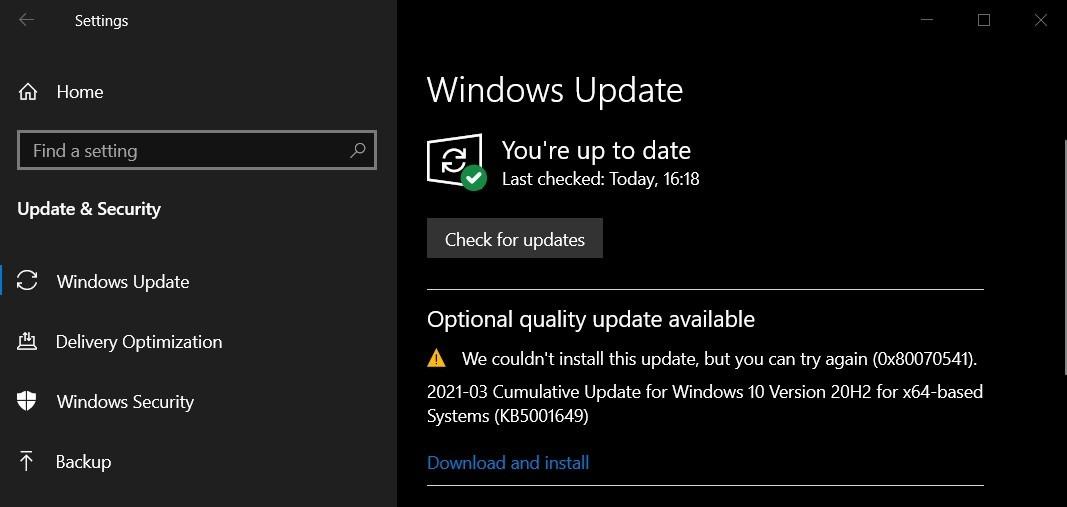 KB5001649 update error 0x80070541 1