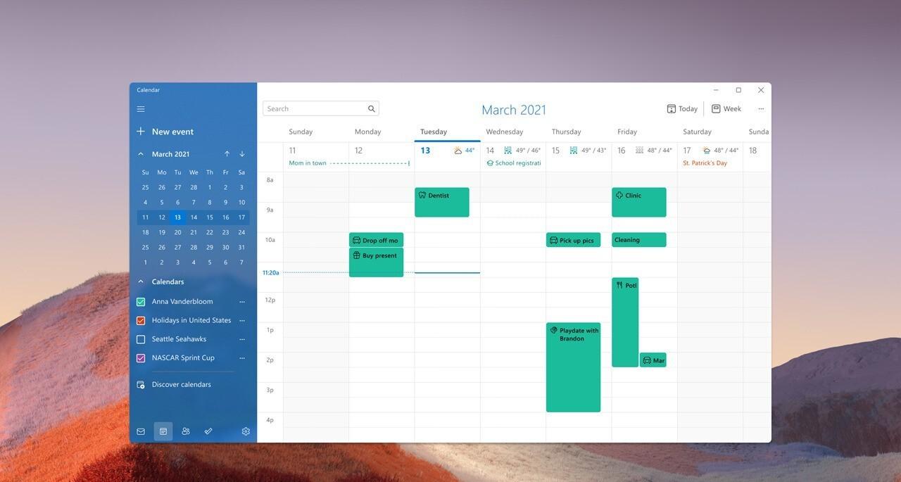 Calendar light crop